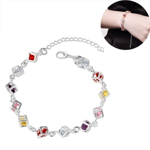 Colorful Rhinestones Embedded Grid Silver Plated Bracelet Ornament