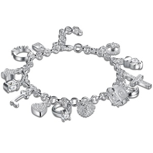 Classic Fashion Silver Plated 13 Hanging Ornaments Bracelets