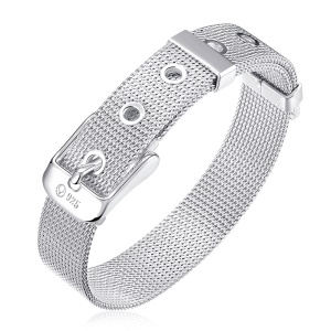 14mm WatchBand Style Silver Plated Mesh Bracelet Chain