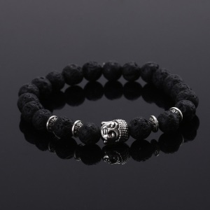 Natural Lava Stone Buddha Head Bracelet for Men and Women - Black