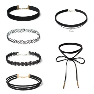 6Pcs/Set European Style Gothic Neckband Choker Necklace Combination Set - Black / Style A