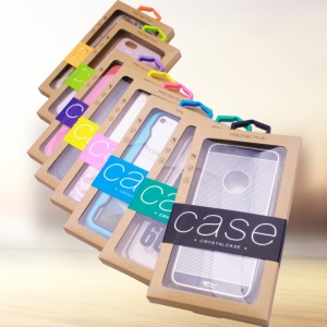 Customized Logo 50Pcs/Set Kraft Paper Box Package for iPhone /Samsung Cases, Size: 140x75mm - Blue