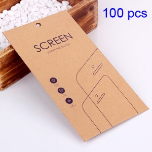 Customizable 100Pcs Thickened Kraft Paper Packaging Box for Tempered Glass Screen Film, Size: 177 x 98mm