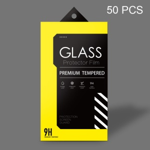 Customizable 50PCs Paper Packaging Box + Wipe Set + Dust-absorber for Tempered Glass Screen Film - Yellow / Black