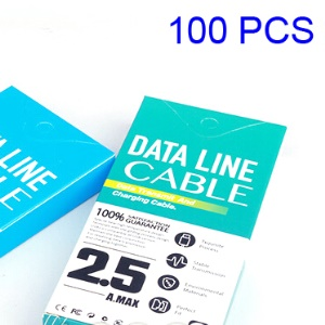 Customizable 100Pcs USB Data Cable Packaging Box for 1-1.5m Cables, Size: 130 x 60 x 16mm - White / Cyan
