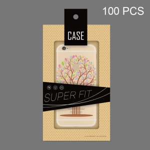 Customizable 100Pcs Paper Package Box for iPhone SE 6s 6 Cases, Size: 182 x 105mm - Black