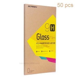 KJ-489 Customizable 50Pcs Kraft Tempered Glass Film Retail Package for iPhone 6s Plus - Yellow Rhombus Sticker