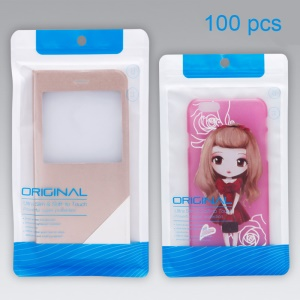 Customized 100Pcs/Set Matte Ziplock Package Pouch for iPhone 6s Plus Cases, Size: 212 x 120mm - Blue
