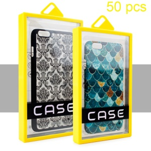 50Pcs/Set Package Box for iPhone 6s Plus Leather Cases, Size: 165 x 98 x 14mm - Yellow