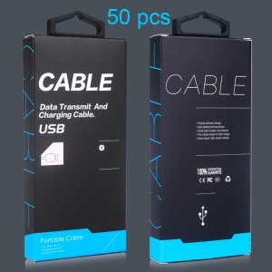 KJ-295 Customized 50Pcs/Set Retail Package for 1-1.5m USB Cable with Hanging Hook, Size: 130 x 60 x 16mm - Black
