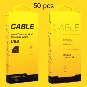 KJ-295 Customized 50Pcs/Set Retail Package Box for 1-1.5m USB Cable with Hanging Hook, Size: 130 x 60 x 16mm - Yellow