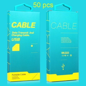 KJ-295 Customized 50Pcs/Set Retail Paper Package Box for 1-1.5m USB Cable with Hanging Hook, Size: 130 x 60 x 16mm - Blue