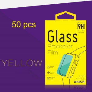 50Pcs KJ-398 Retail Packaging Box for Apple Watch Tempered Glass Screen Film - Yellow