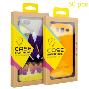 Customizable 50Pcs/Set Kraft Paper Packaging Box for iPhone 6 6s / Galaxy J5 (2016) Cases - Yellow
