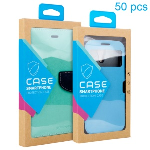 Customizable 50Pcs/Set Kraft Paper Package Box for iPhone 6 6s / Samsung Galaxy J3 Cases - Blue