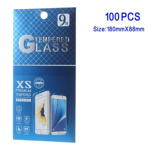 100 Pcs/Lot Paper Retail Packaging Box for iPhone 6s Plus Tempered Glass Screen Film, Size: 180 x 88mm - Blue