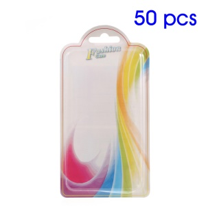 50Pcs Paper + Plastic Packing Box for iPhone 7/6s Back Case 140 x 70 x 10mm - Colorful Waves