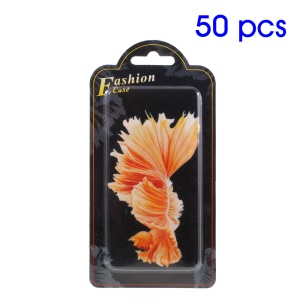 50Pcs Paper + Plastic Tray Retail Box for iPhone 7/6s Back Case 140 x 70 x 10mm - Betta Fish in Dark