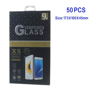 50Pcs/Set Paper Retail Tempered Glass Protector Package Box for Samsung Galaxy Note 7 / iPhone 6s Plus - Black