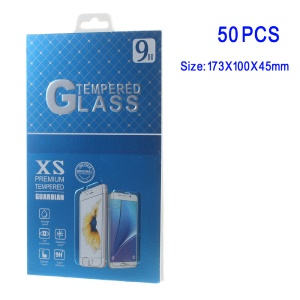 50Pcs/Set Paper Retail Tempered Glass Protector Packaging Box for Samsung Galaxy Note 7 / iPhone 6s Plus - Blue