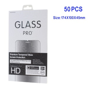 50Pcs/Set Tempered Glass Screen Film Packing Box for iPhone 6s/Samsung Note7 Etc - White