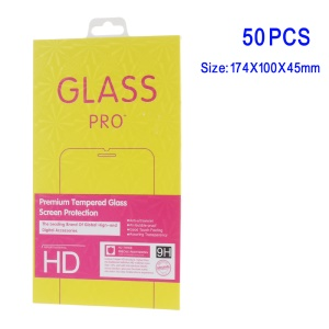 50Pcs/Set for iPhone Samsung Smartphone Tempered Glass Screen Film Packing Box - Yellow