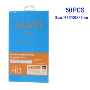 50Pcs/Set Tempered Glass Screen Guard Retail Package Box for iPhone Samsung Smartphone - Blue