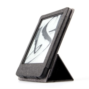 Wire Lines Texture Tri-fold Stand PU Leather Protective Cover for Amazon New Kindle 2014, Kindle Paperwhite3 / 2  - Black