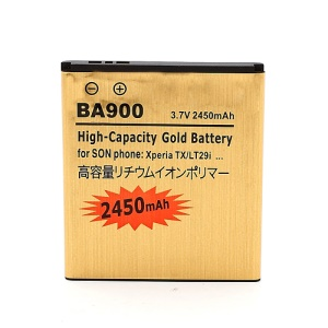 BA900 2450mAh Gold Color Battery Replacement for Sony Xperia GX LT29i Hayabusa / E1 D2004 D2005