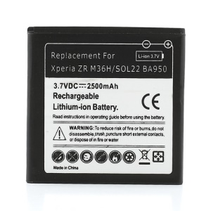2500mAh BA950 Battery Replacement for Sony Xperia ZR M36h C5503 C5502