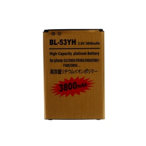 BL-53YH 3800mAh Rechargeable Gold Color Backup Battery for LG G3 D850 D855 LS990 (High-capacity)