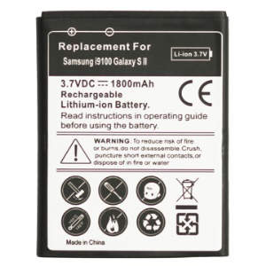 1800mAh Li-ion Rechargeable Battery Replacement for Samsung I9100 Galaxy S II