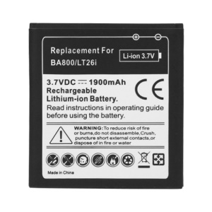 For Sony Xperia S LT26i Nozomi Battery Replacement 1900mAh, Model: BA800