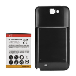 For Samsung Galaxy Note ii N7100 Extended Battery with Battery Door Cover 6500mAh - Black