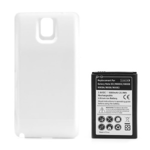White Modified Battery Cover + 6800mAh Thick Battery for Samsung Galaxy Note 3 N9005 N9000 N9002