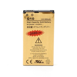 High Capacity Gold Color Battery for BlackBerry Q10, 2680mAh