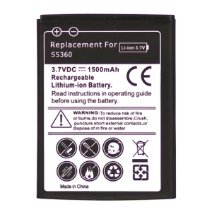 Mobile Phone Battery for Samsung Galaxy Y S5360 1500mAh, Model:EB454357VU