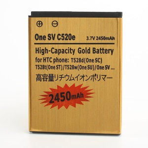 2450mAh Gold Battery for HTC One ST T528t / One SU T528w / One SV C520e / One SC T528d
