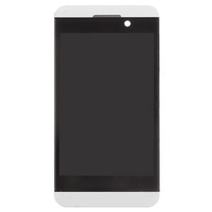White LCD Assembly Touch Screen + Middle Plate + Power Button + Earphone Jack w/ Flex Cable Ribbon for BlackBerry Z10 4G Version (OEM)