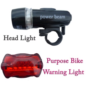 5-LED Bicycle Headlight with Rear Warning Light Lamp