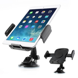 Black Universal 360 Degree Rotating Car Holder for 7-11 inch Tablet, width: 92mm-205mm