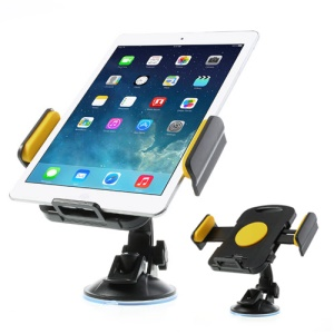 Yellow Universal 360 Degree Rotating Car Holder for 7-11 inch Tablet, width: 92mm-205mm