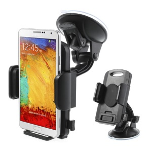 Black Universal 360 Rotation Car Holder Stand for 4.3-7.8 inch Smartphones Tablet, width: 58-125mm