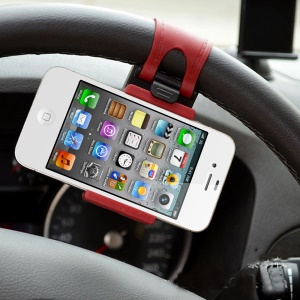 Mini Retractable Car Steering Wheel Phone Socket Holder for Cellphone GPS, Height: 54-76mm