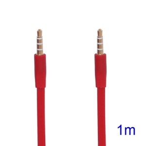 Noodle-shaped 3.5mm Male to 3.5mm Male Stereo Aux Audio Cable, Length: 1M - Red