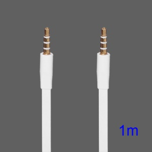 Noodle-shaped 3.5mm Male to 3.5mm Male Stereo Aux Audio Cable, Length: 1M - White