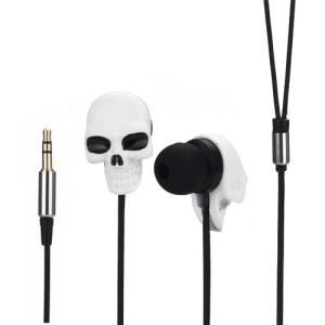 Cool Metal Skull 3.5mm Stereo In-ear Headphones for iPod For iPad MP3 CD etc - White