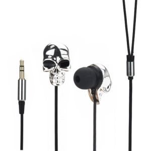 Cool Metal Electroplated Skull In-ear Headphones Earbuds for iPod For iPad MP3 CD etc - Silver Color