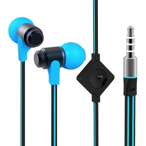 Wallytech WHF-116 Noodle Shaped In-Ear 3.5mm Metal Earbud Earphone Headset with Mic - Black / Blue