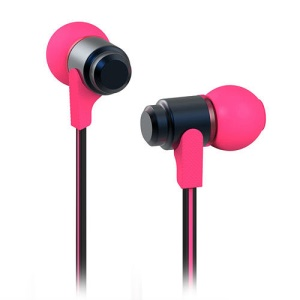 Wallytech WEA-116 Flat 3.5mm In-Ear Earphone Headphone for iPhone iPad iPod Samsung LG HTC - Black / Rose